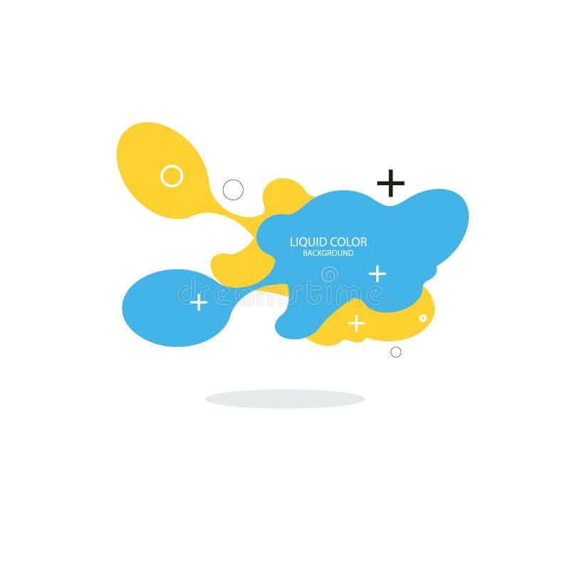 Moderne abstracte vectorbannerreeks Vlakke geometrische vloeibare vorm met diverse kleuren Modern vectormalplaatje, Malplaatje vo stock illustratie