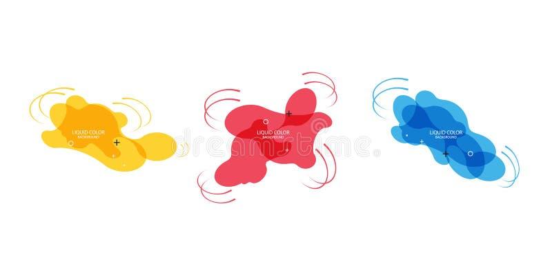 Moderne abstracte vectorbannerreeks Vlakke geometrische vloeibare vorm met diverse kleuren Modern vectormalplaatje, Malplaatje vo royalty-vrije illustratie