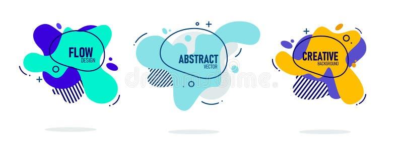 Moderne abstracte vectorbannerreeks Vlakke geometrische vloeibare vorm met diverse kleuren Modern vectormalplaatje, Malplaatje vo vector illustratie