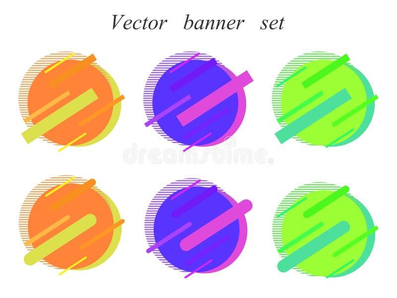 Moderne abstracte vectorreeks banners Vlakke geometrische vorm met verschillende kleuren Modern vectormalplaatje, malplaatje voor stock illustratie