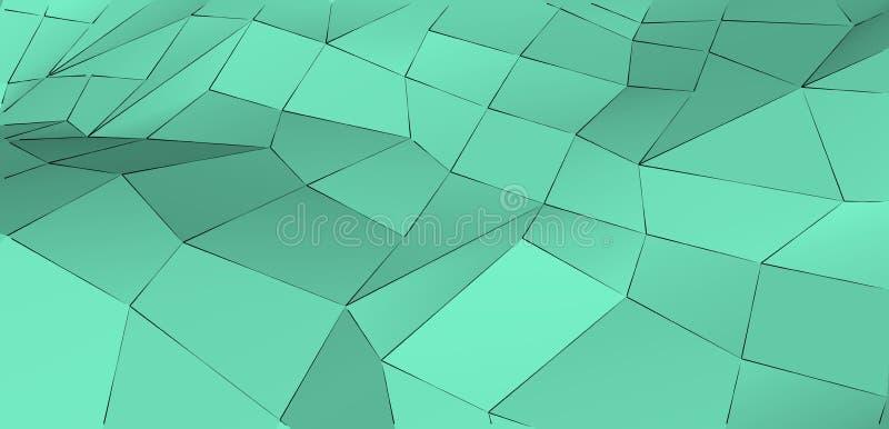 Moderne abstracte verse munt groene driehoekige achtergrond Conceptie van versheid en zuiverheid stock illustratie