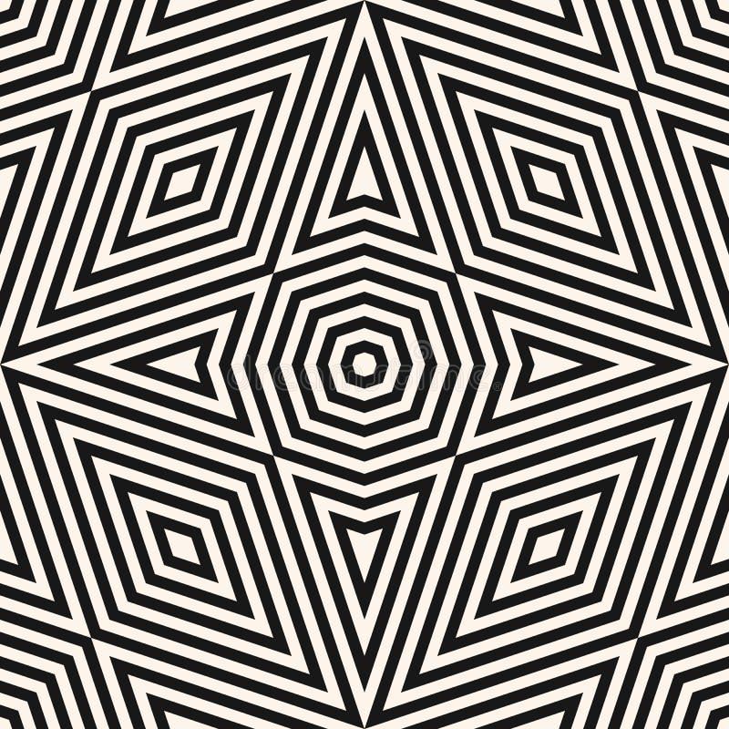Moderne abstracte zwart-wit vectorachtergrond Zwart-witte grafische textuur met driehoeken, ruiten, achthoeken, diagonale lijnen, royalty-vrije illustratie