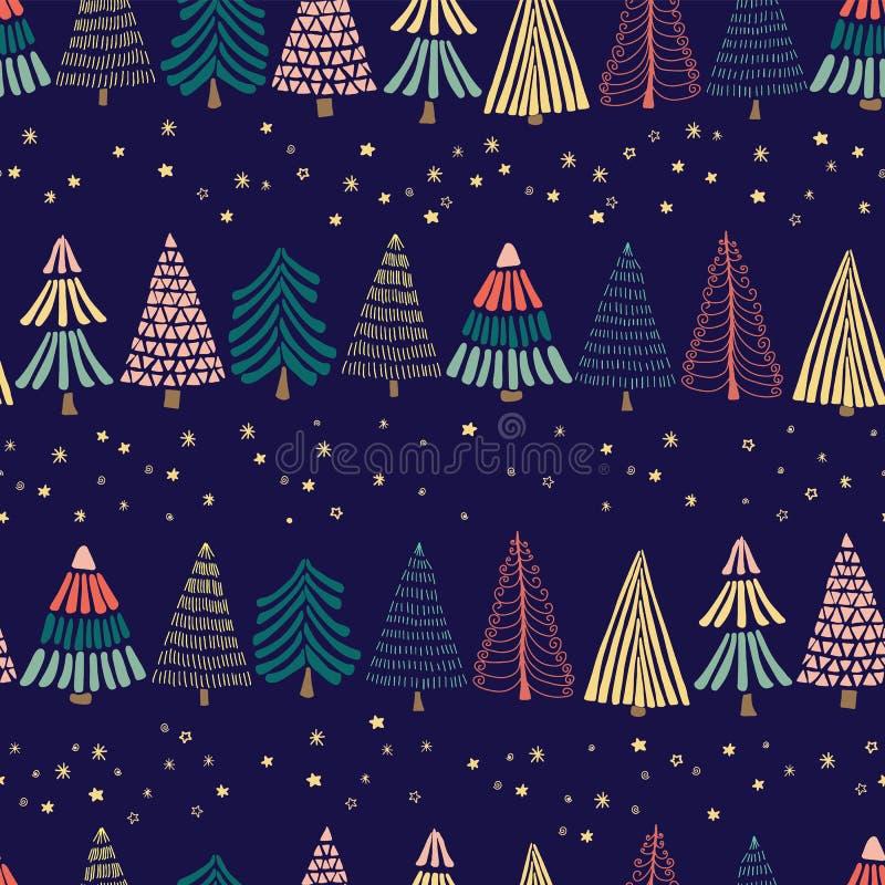 Moderne abstrakte Gekritzel Weihnachtsbäume in Folge und Sterne auf einem dunkelblauen Hintergrund Nahtloses vektormuster Groß fü stock abbildung