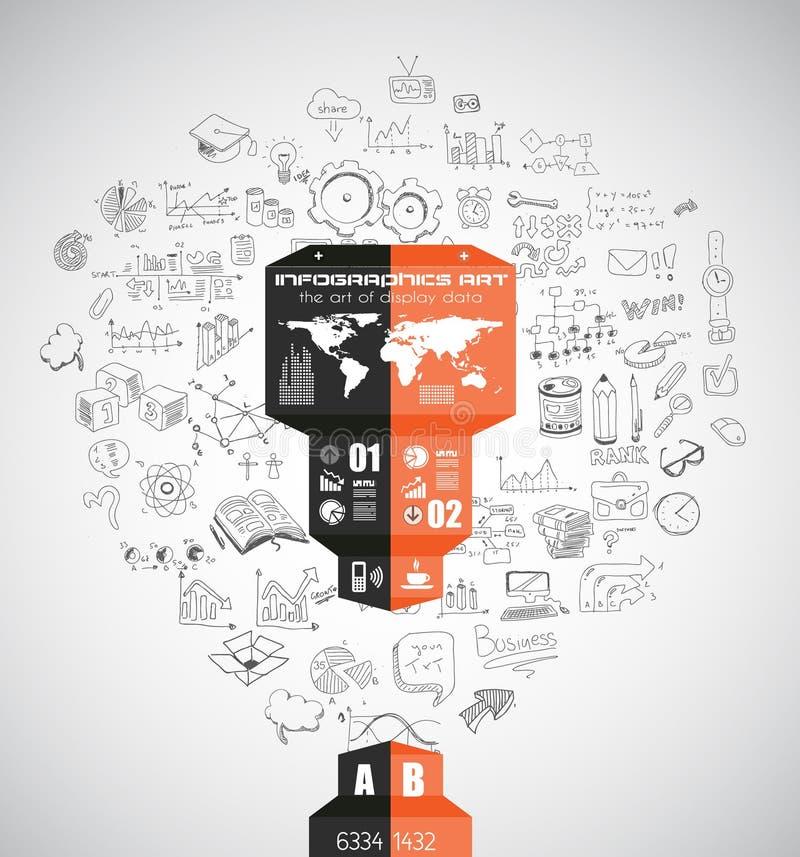 Moderne abstrakte Infographic-Schablone, zum von Daten anzuzeigen stock abbildung