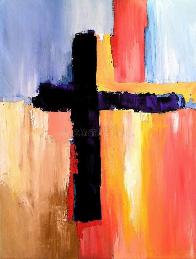 Moderne abstrakte Kunst mit Kreuz lizenzfreie abbildung
