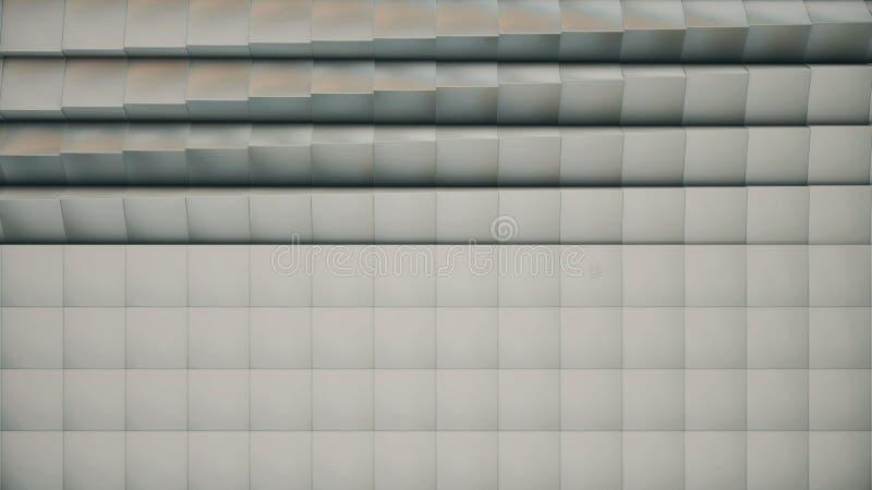 Moderne abstrakte Metallgitteroberfläche drehen Welle von hellen grauen Würfeln lizenzfreies stockbild
