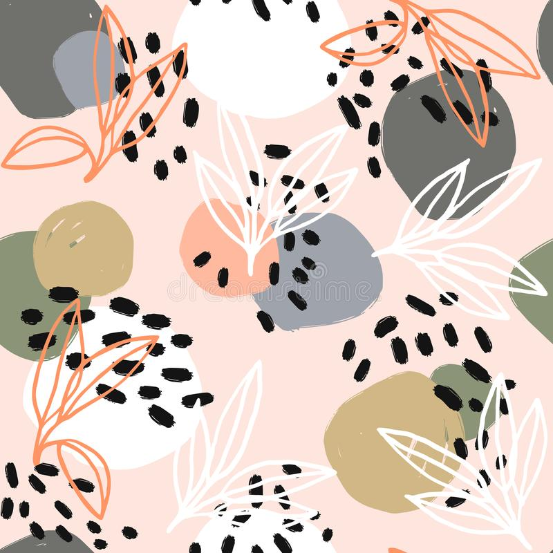 Moderne abstrakte Modellserie Heldmuster mit Bürstenanschlägen, -formen und -Florenelementen Modische Pastellfarben stock abbildung