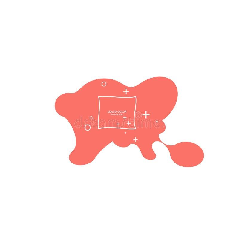 Moderne abstrakte Vektorfahne Flache geometrische flüssige Form mit lebenden korallenroten Farben Moderne Vektorschablone, Schabl stock abbildung