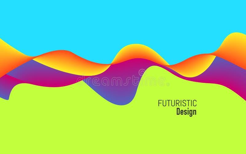 Moderne achtergrond met dynamisch effect Helder ontwerp met in kleuren Kleurrijk concept voor website, affiche royalty-vrije illustratie