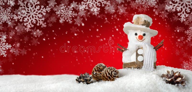 Moderne achtergrond met een gelukkige sneeuwman royalty-vrije stock foto