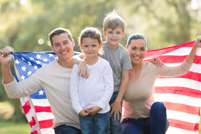 Moderne Amerikaanse familie stock afbeeldingen