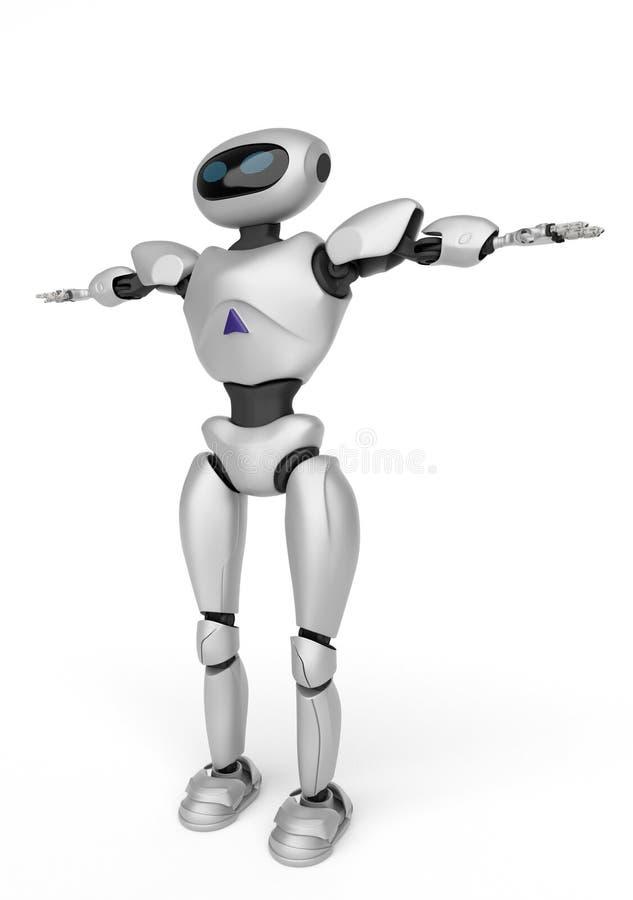 Moderne androïde robot op een witte achtergrond het 3d teruggeven stock illustratie