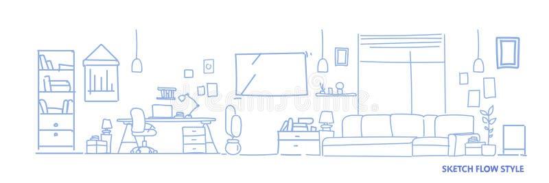 Moderne Arbeitsplatzkabinettmöbel leer keine Leutehauswohnzimmerhorizontale Fahne der Innenskizzenfluss-Art stock abbildung