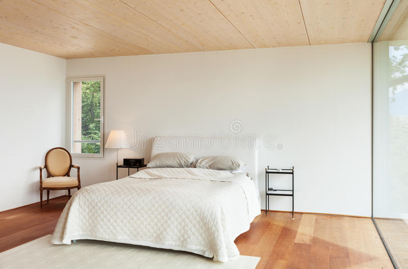 Moderne architectuur, binnenland, slaapkamer stock afbeeldingen