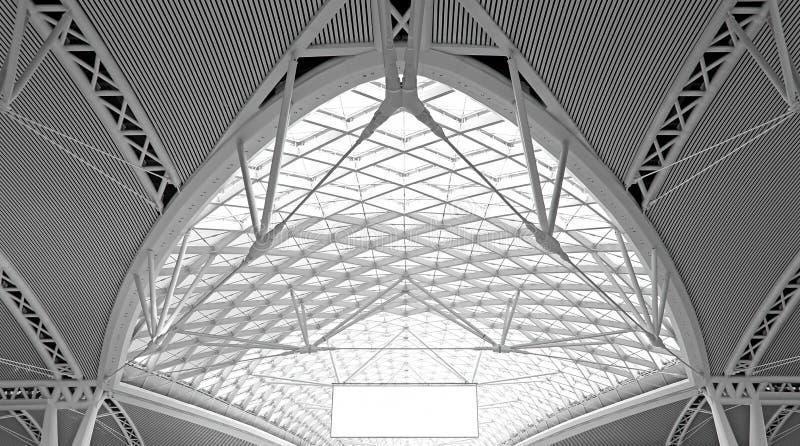 Moderne architectuur: curvy de structuurontwerp van het staaldak royalty-vrije stock afbeeldingen