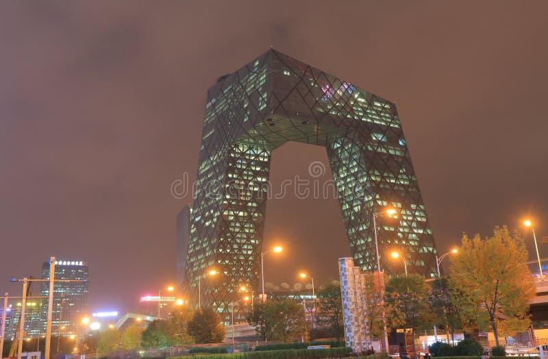 Moderne architectuur van kabeltelevisie die Peking China bouwen stock foto
