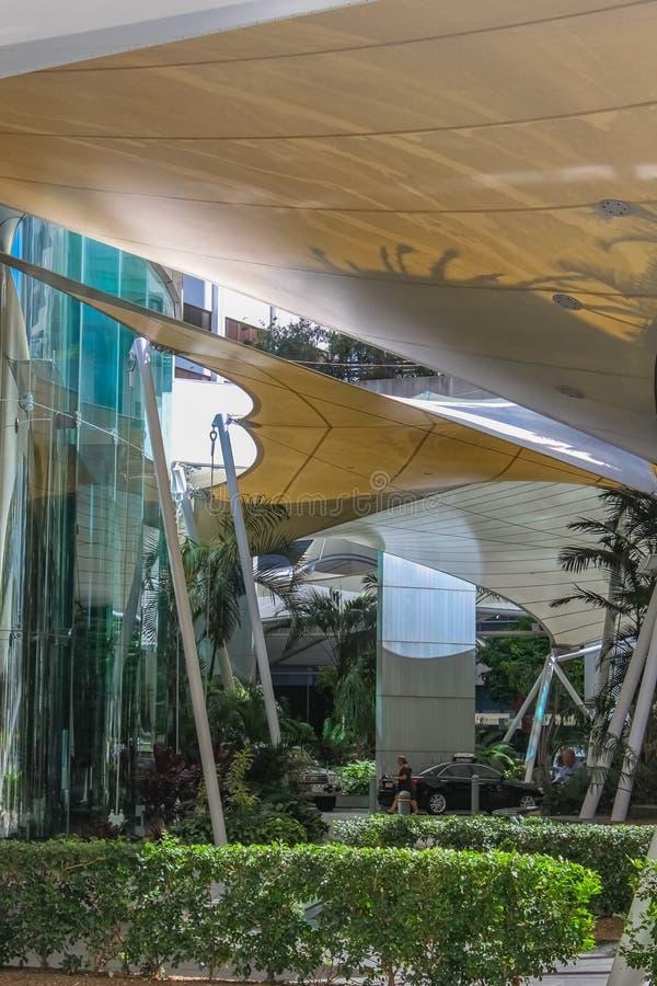 Moderne Architektur und um Eagle Pier im zentralen Geschäftsgebiet von Brisbane Australien 2 landschaftlich gestalten 25 2015 stockfotos