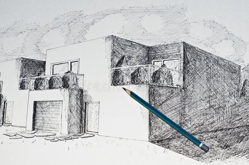 Moderne Architekturhausperspektive und ein Bleistift stockfotos
