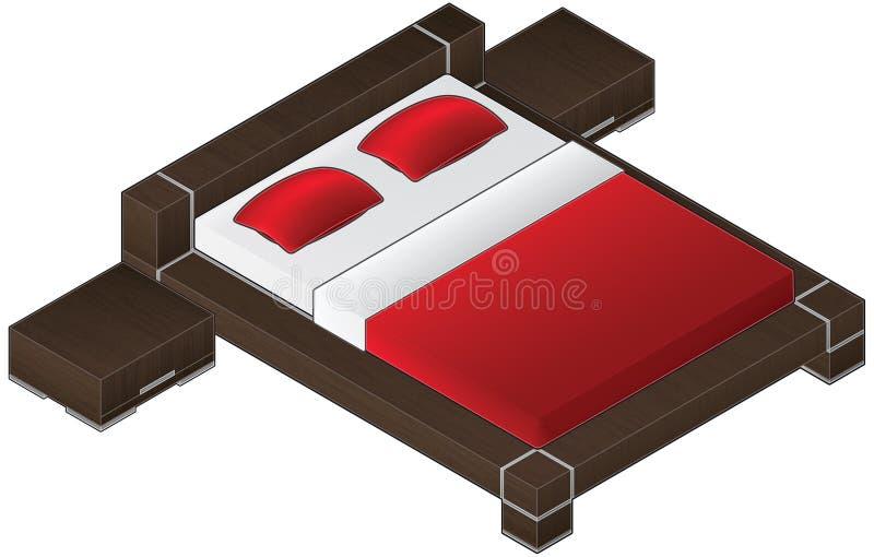 Moderne Art-großes hölzernes Bett stock abbildung