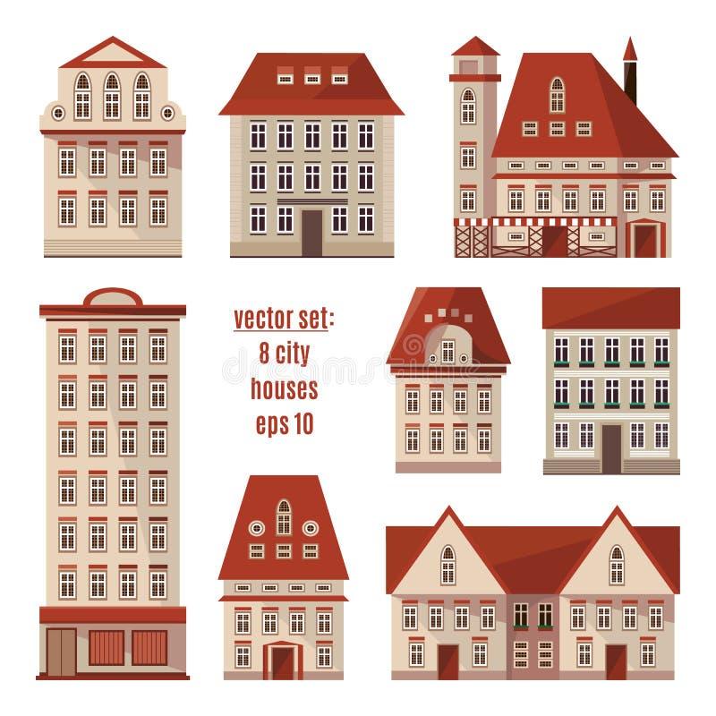 Moderne ausführliche flache Vektorgebäudesammlung Satz Europa-Stadthäuser stock abbildung