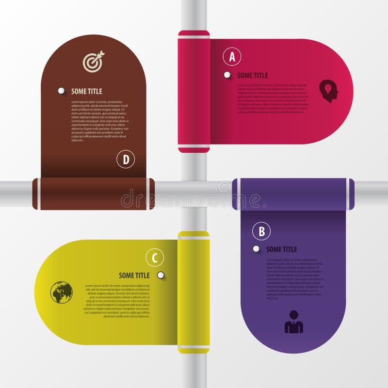 Moderne Auslegung Infographic-Flaggen Rand der Farbband-, Lorbeer- und Eichenblätter vektor abbildung