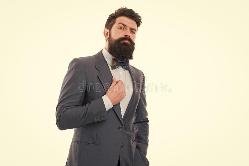 Moderne Ausstattung des Gesch?ftsmannes oder des Wirtes lokalisierte wei?es Noble Art B?rtiger Hippie des Mannes klassische Anzug lizenzfreie stockbilder