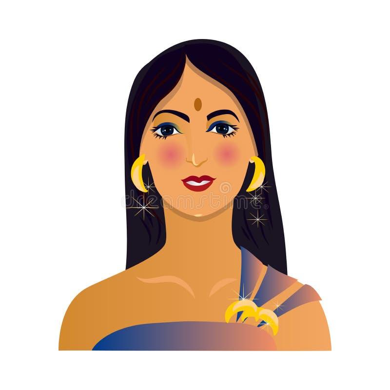 Moderne avatar van mooie Indische vrouw met gouden juwelen stock illustratie