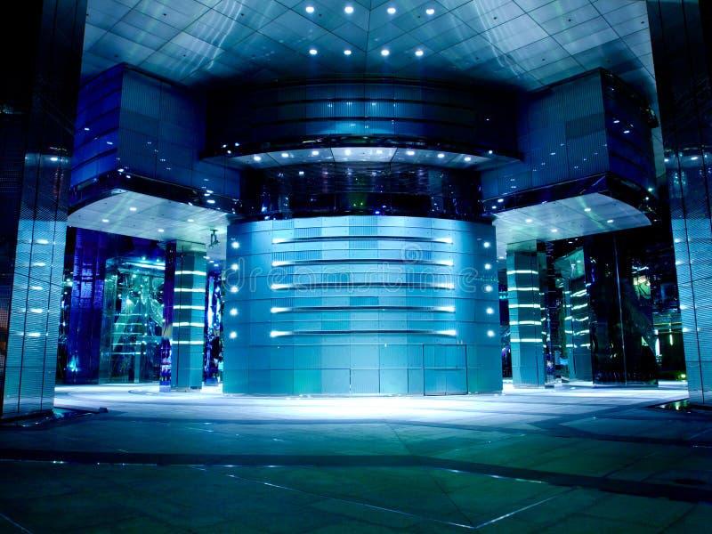 Moderne Büro-Hall-Blau-Tönung stockbild