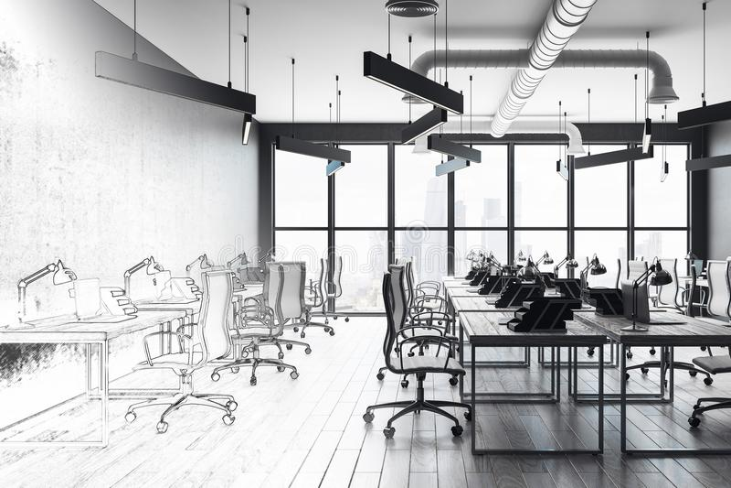 Moderne Büroinnenraumskizze stock abbildung