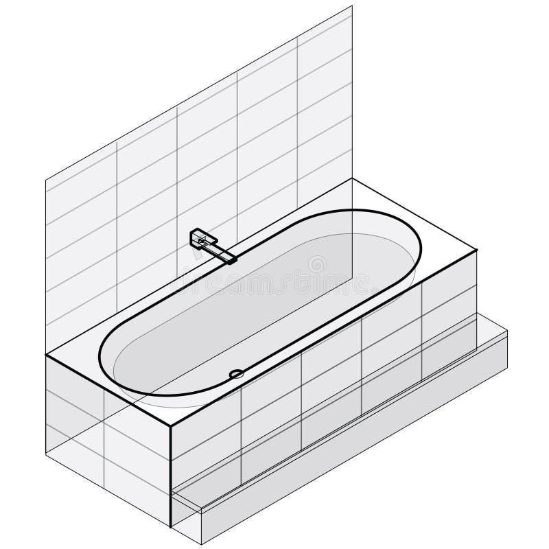 Moderne Badewanne gefüllt mit Wasser Umrissene isometrische Vektorbadewanne stock abbildung
