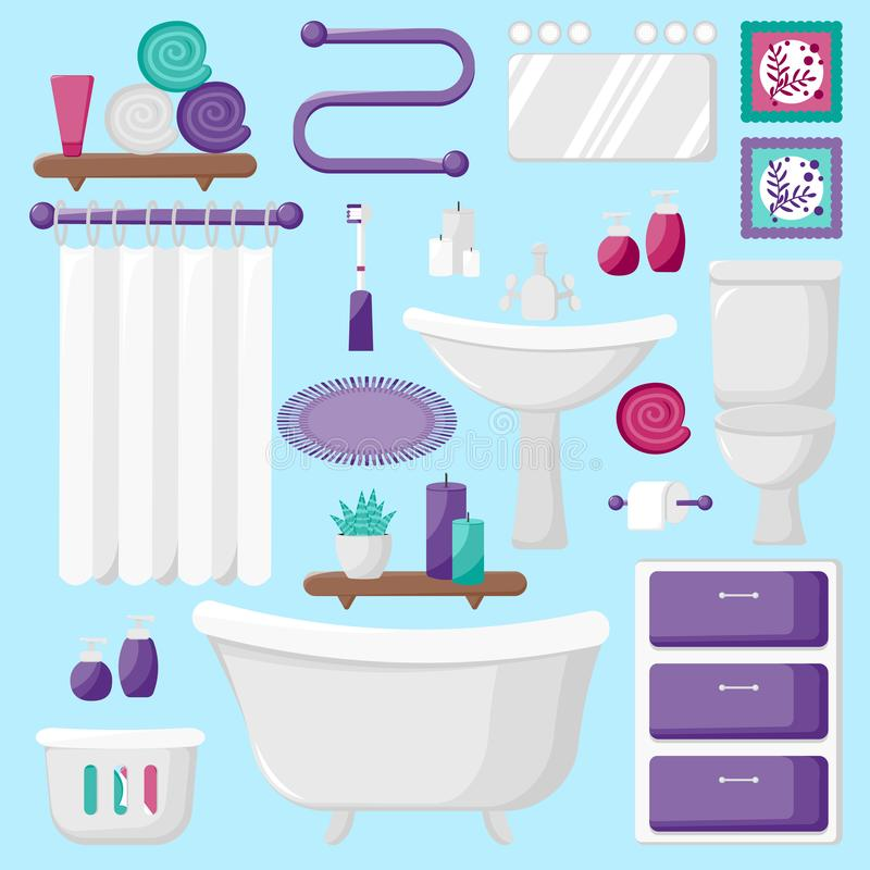 Moderne badkamers binnenlandse elementen royalty-vrije illustratie
