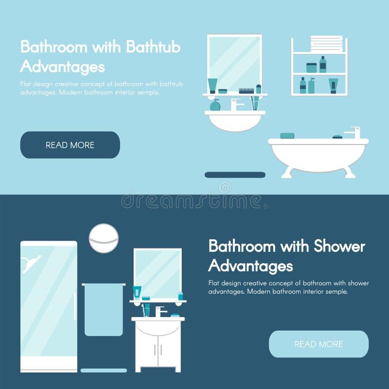 Moderne Badkamers Horizontale vlakke de bannerreeks van het badkamersbinnenland vector illustratie