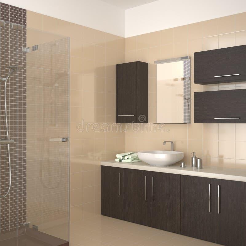 Moderne badkamers met donkere houten apparatuur royalty-vrije illustratie