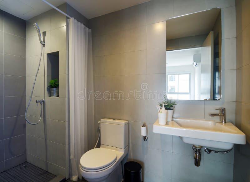 Moderne badkamers met douche stock afbeelding