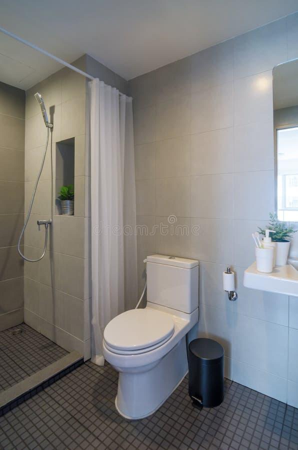 Moderne badkamers met douche royalty-vrije stock afbeelding