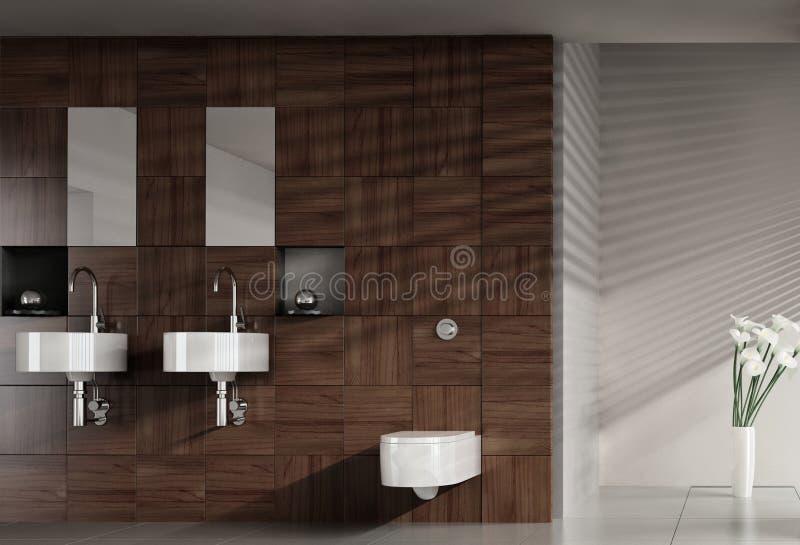 Moderne badkamers met dubbel bassin stock illustratie