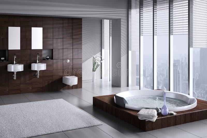 Moderne badkamers met dubbele bassin en Jacuzzi vector illustratie
