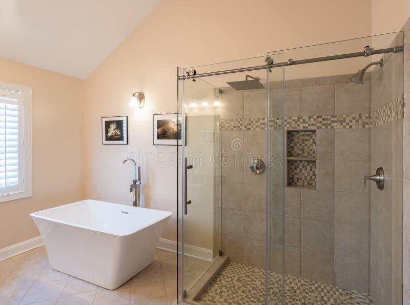Moderne badkamers met freestanding ton en douche stock foto's
