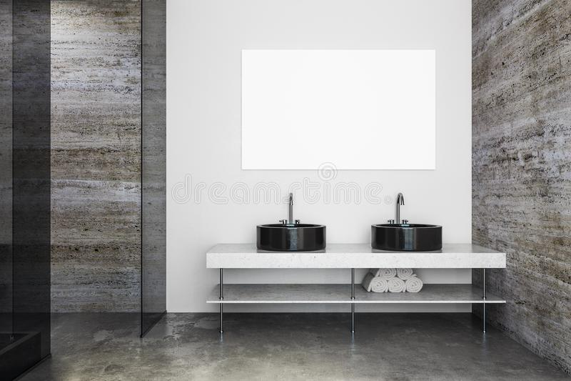 Moderne badkamers met gootstenen en affiche stock illustratie