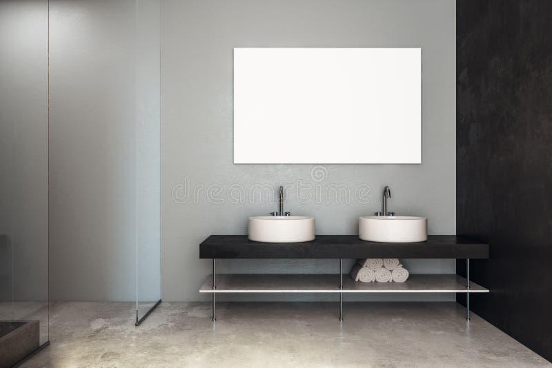 Moderne badkamers met gootstenen en banner vector illustratie