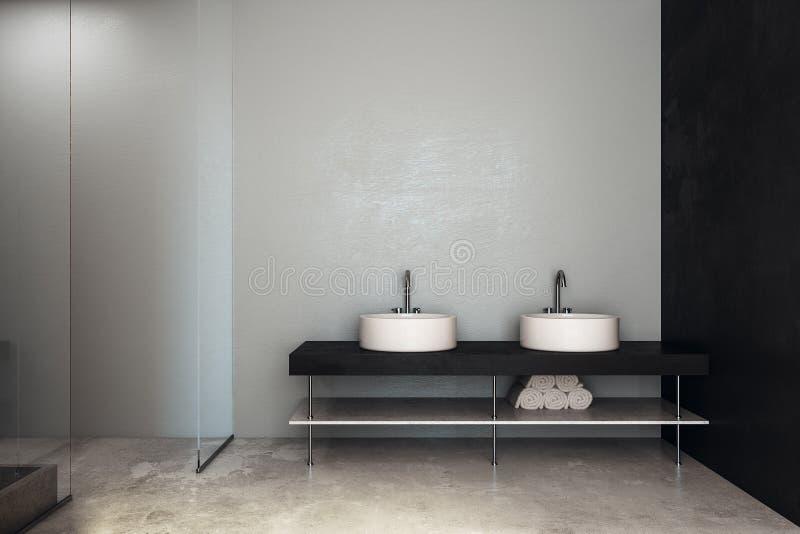 Moderne badkamers met gootstenen en copyspace royalty-vrije illustratie