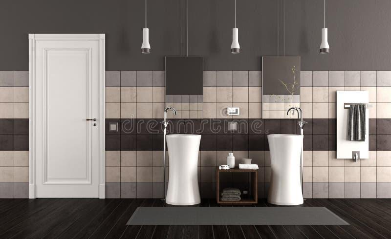 Moderne badkamers met twee gootstenen royalty-vrije illustratie