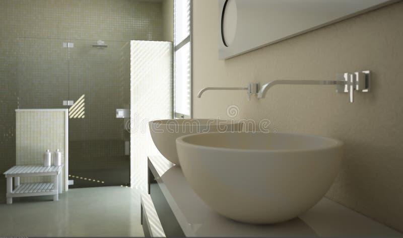 Moderne badkamersmening met dichte omhooggaand op de gootstenen royalty-vrije illustratie