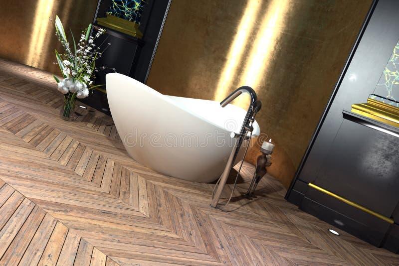 Moderne badkuip in een klassieke badkamers royalty-vrije illustratie