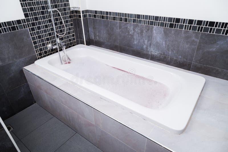 Moderne badkuip met schuimbad stock afbeelding