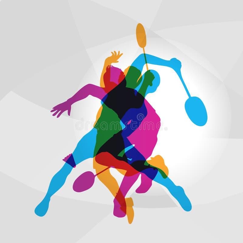 Moderne Badmintonspelers in Actieembleem stock illustratie