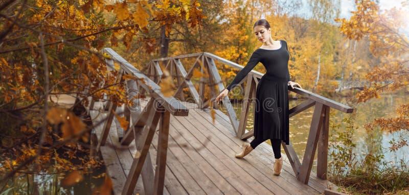 Moderne balletdanser in het de herfstpark royalty-vrije stock foto's