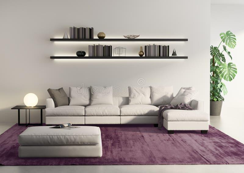 Moderne bank in een grijze contemprary woonkamer stock Grijze woonkamer