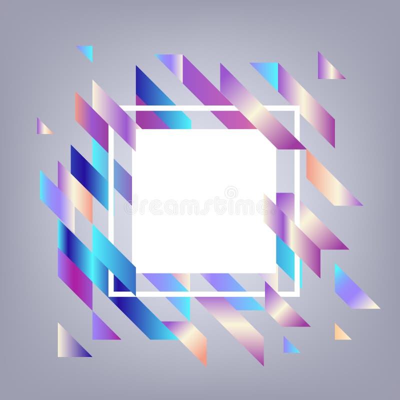 Moderne banner met gradiënt geometrische elementen - abstracte achtergrond met witte vierkante exemplaarruimte royalty-vrije illustratie