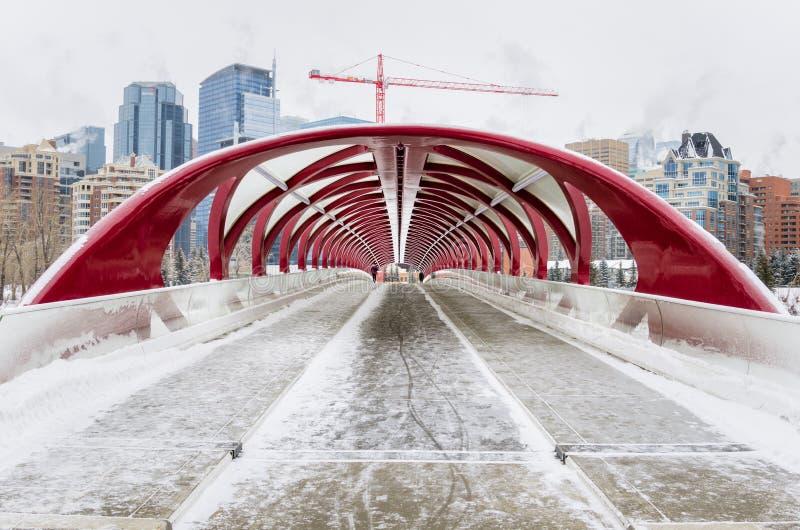 Moderne bedeckte Fußgängerbrücke an einem einfrierenden Winter-Tag stockbilder